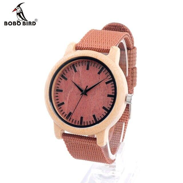 Bobo bird d09 nueva llegada rojo de madera del reloj para las mujeres y hombres Con Miyta Mens Movimiento de Cuarzo Japonés reloj En Caja De Regalo