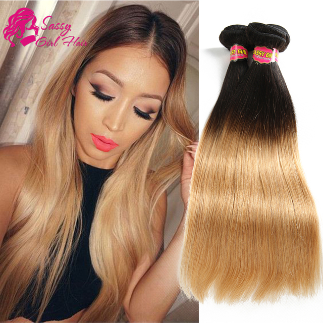 7a Malaysian Straight Ombre Honey Blonde Weave 100 Human Hair Weave