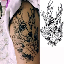 3pcs Waterproof Temporary Tattoos Sticker Deer And Flower Tattoo Sexy Cool Beauty Tattoo Water Transfer Fake Tattoo For Men Girl