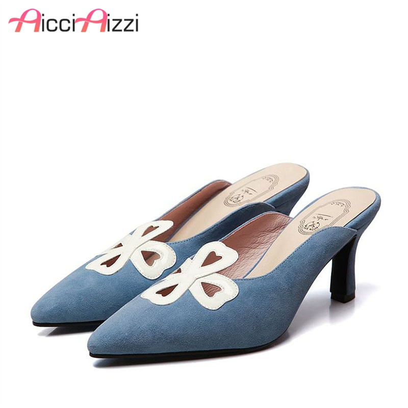 AicciAizzi Cow Leather Women Sandals Pointed Toe High Heels Slippers High Quality Party Club Leisure Women Footwear Size 34-40AicciAizzi Cow Leather Women Sandals Pointed Toe High Heels Slippers High Quality Party Club Leisure Women Footwear Size 34-40