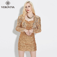 VEROVIVA Solid Gold Sequin Women Fashion Short Coat Black Party Club Open Stitch Silver Elegant Female Jacket Outwear Overcoat