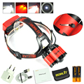 Boruit Hunting 8000LM XM-L2+2XXPE Red LED Headlamp USB 4Modes Headlight+2x18650 PCB Battery + Charger