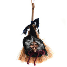 Halloween Props Scary Ghost Dolls Witch Broom Toys Pendant Horror for Party Decoration