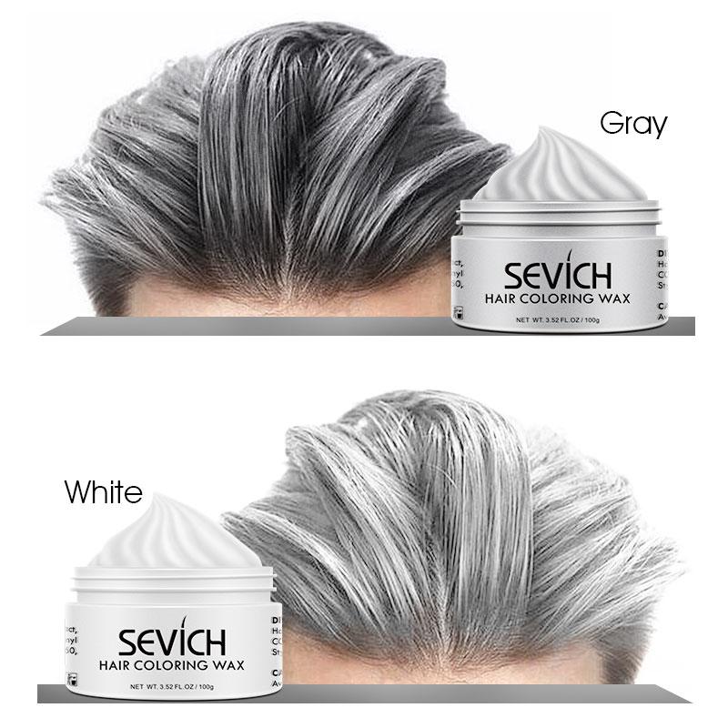 Cor temporária do cabelo cera homem diy lama uma vez moldagem pasta tintura creme gel de cabelo para coloração do cabelo estilo prata cinza