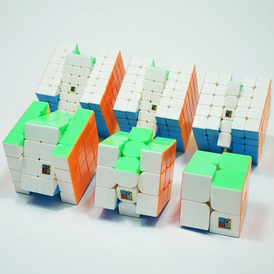 MoYu Speed Cube Bundle Moyu Mofang Jiaoshi MF2S MF3S MF4S MF5S MF6 MF7S ensemble de Cube magique sans colle 6 en 1 avec boîte-cadeau - 4