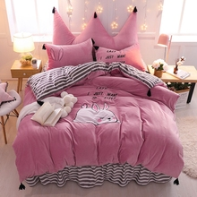 Pale Mauve White Pink Cartoon Rabbit Embroidery Soft Fleece Fabric Bedding Set Duvet Cover Bed Skirt Pillowcase Crown Backrest