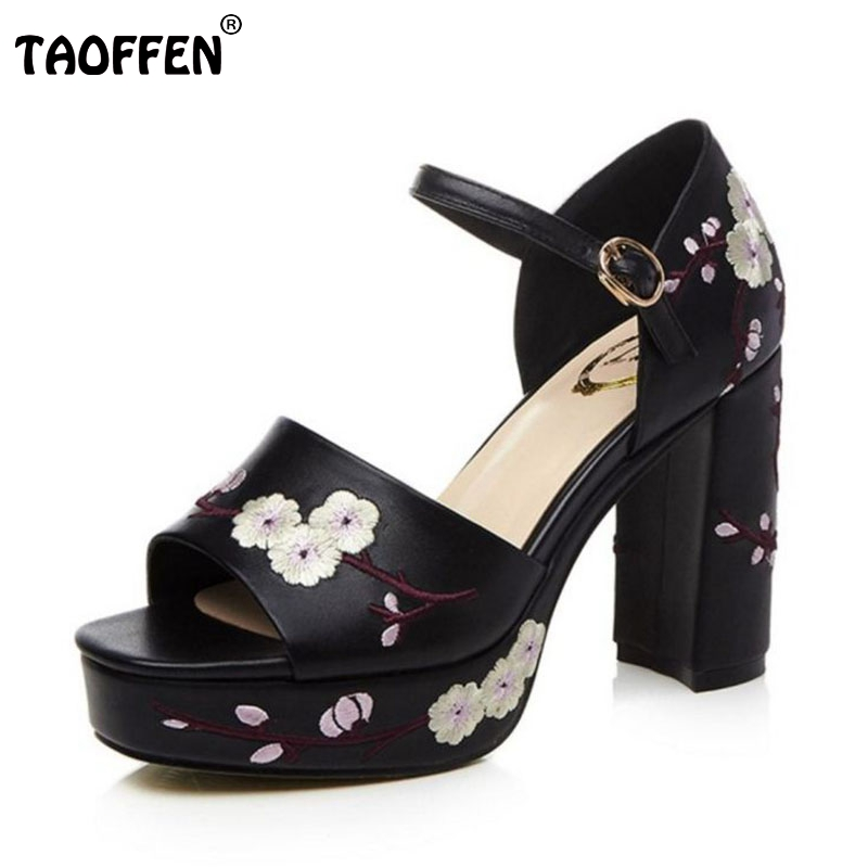 TAOFFEN Vintage Women Genuine Leather High Heel Sandals Flower Platform Ankle Strap Thick Heel Sandal Summer Shoe Size 34-39 stylesowner elegant lady pumps sandal shoe sheepskin leather diamond buckle ankle strap summer women sandal shoe