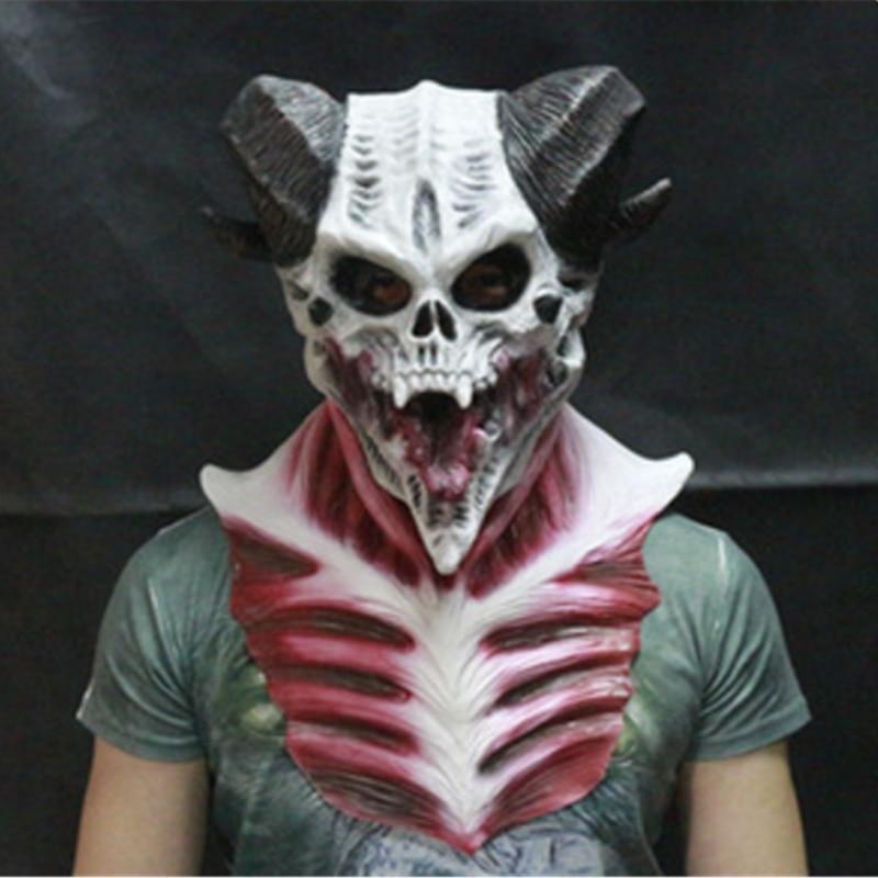 Элегантный взрослый латекс Хэллоуин рогатый Дьявол маска