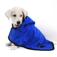XS XL Dog Bathrobe Warm Dog Clothes Super Absorbent Pet Drying Towel Embroidery Paw Cat Hood Pet Bath Towel Grooming Pet Product