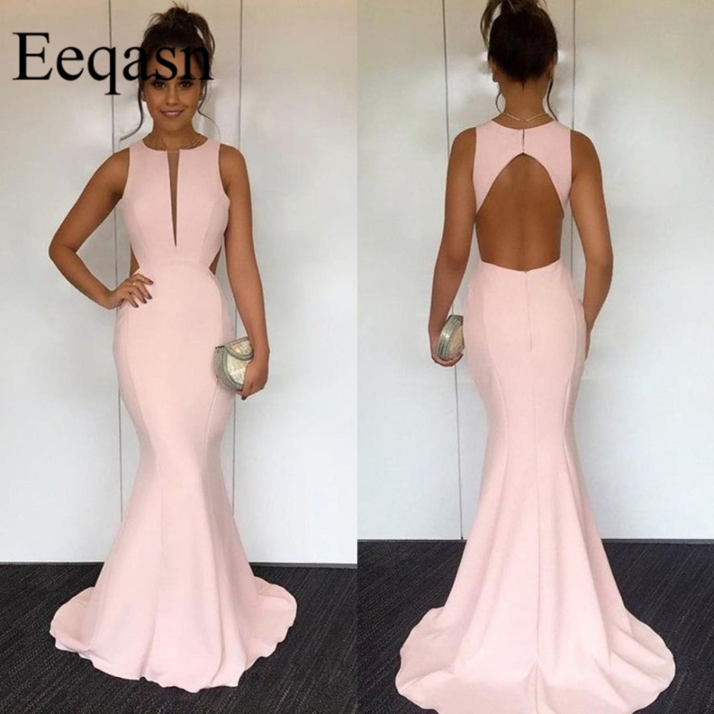 Robe de soiree Long Pink Prom Dresses 2019 Sexy O Neck Keyhole Back Sweep Train Evening Women Party Gowns Elegant Plus Size