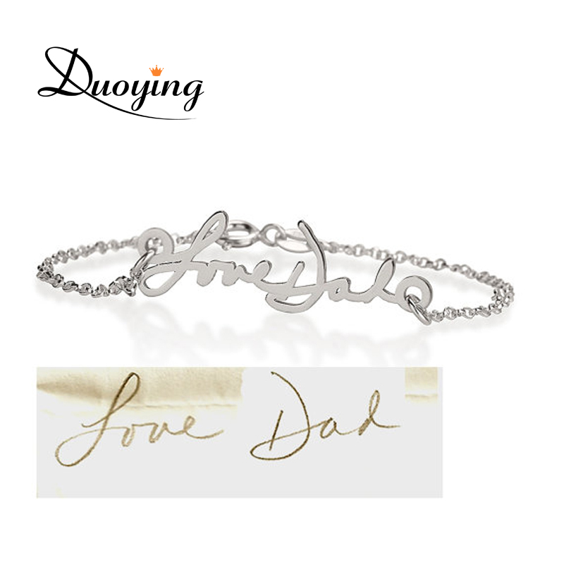 a2af5eb5d57f9 DUOYING Brand Personalized Signature Bracelet Actual Handwriting Bracelet  Memorial Jewelry Gold/Silver/Rose Gold Color Bracelet