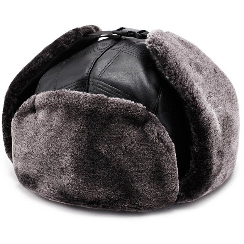 6844edd5 Detail Feedback Questions about HT2110 Windproof Bomber Hat Men Women Winter  Hat High Quality PU Leather Russian Hat Warm Fur Ski Snow Trapper Pilot  Aviator ...