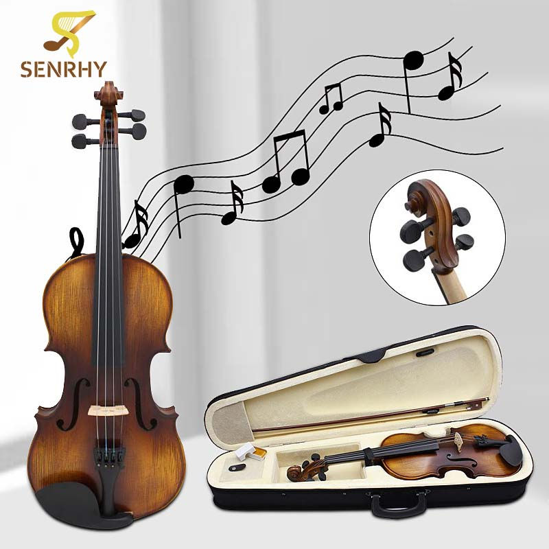 Full Size 4/4 Acoustic Violin Stringed Instruments Fiddle with Violin Case Bow Rosin Parts Accessories Set Kit New Musical 4 4 high grade full size solid wood natural acoustic violin fiddle with case bow rosin professional musical instrument