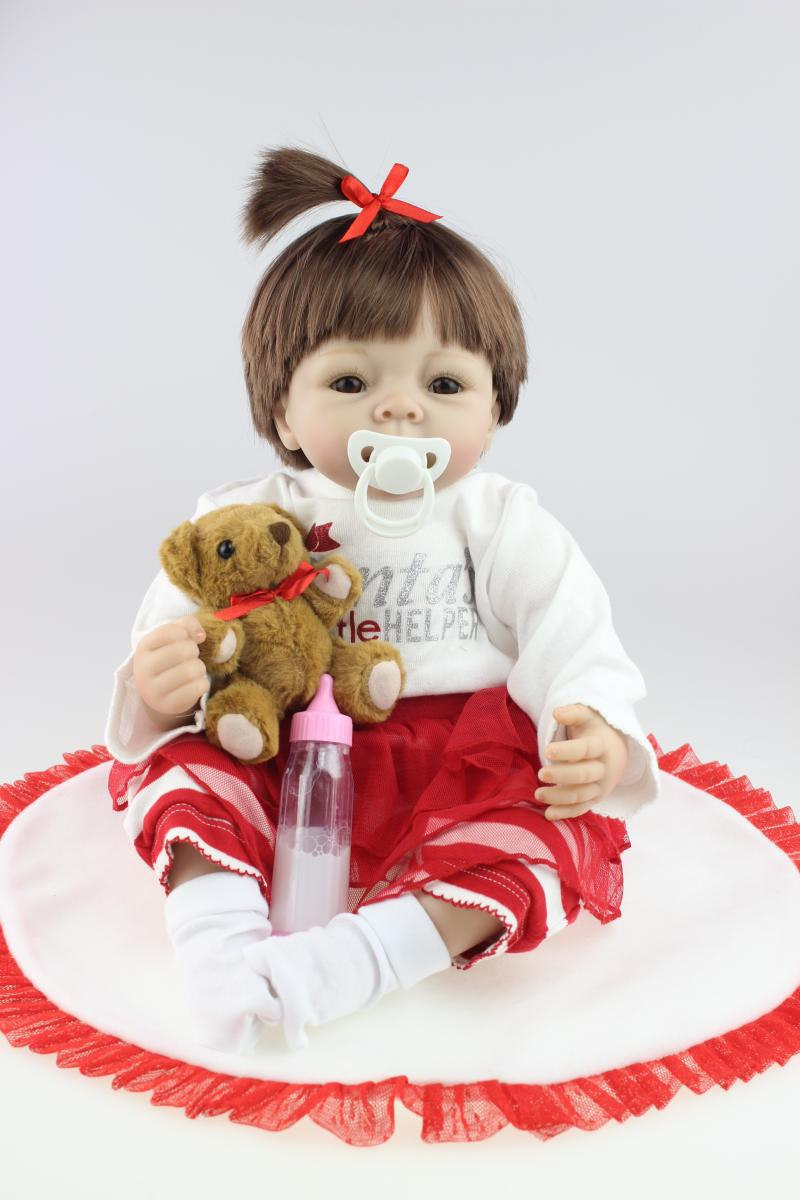 55cm 22inch silicone reborn baby doll toys with magnet pacifier newborn dolls play house plush toy for girl birthday gifts hot sale 2016 npk 22 inch reborn baby doll lovely soft silicone newborn girl dolls as birthday christmas gifts free pacifier