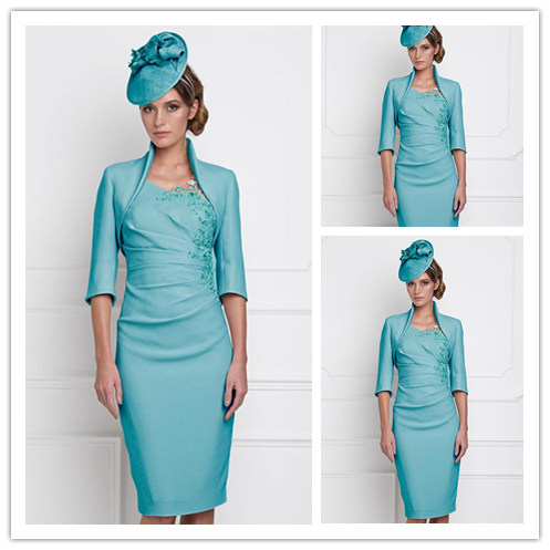Simple Satin Knee Length Mother Of The Bride Dress Free Jacket Stand Collar Applique Women Formal Suit For Wedding 2015 Newest-in Mother of the Bride ...