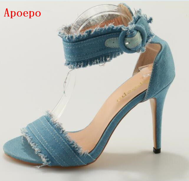 2017 Summer Newest Woman Sandal Sexy Open Toe Ankle Strap Shoes Denim Blue Super High Thin Heels Sandal Gladiator Sandal 2017 summer newest wedge sandal for woman peep toe denim blue lace up platform sandal sexy embroidery gladiator sandal