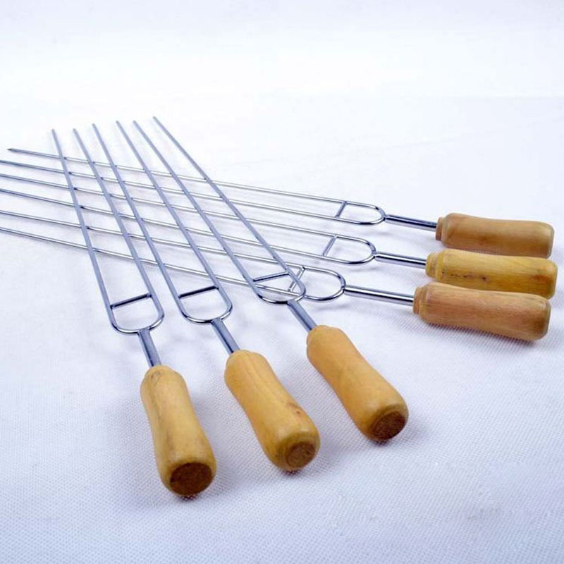 6 pcs/set Camping BBQ Forks Stainless Steel Barbecue Fork Roasting Sticks Needle Skewers with Wooden Handle U Shape Tools