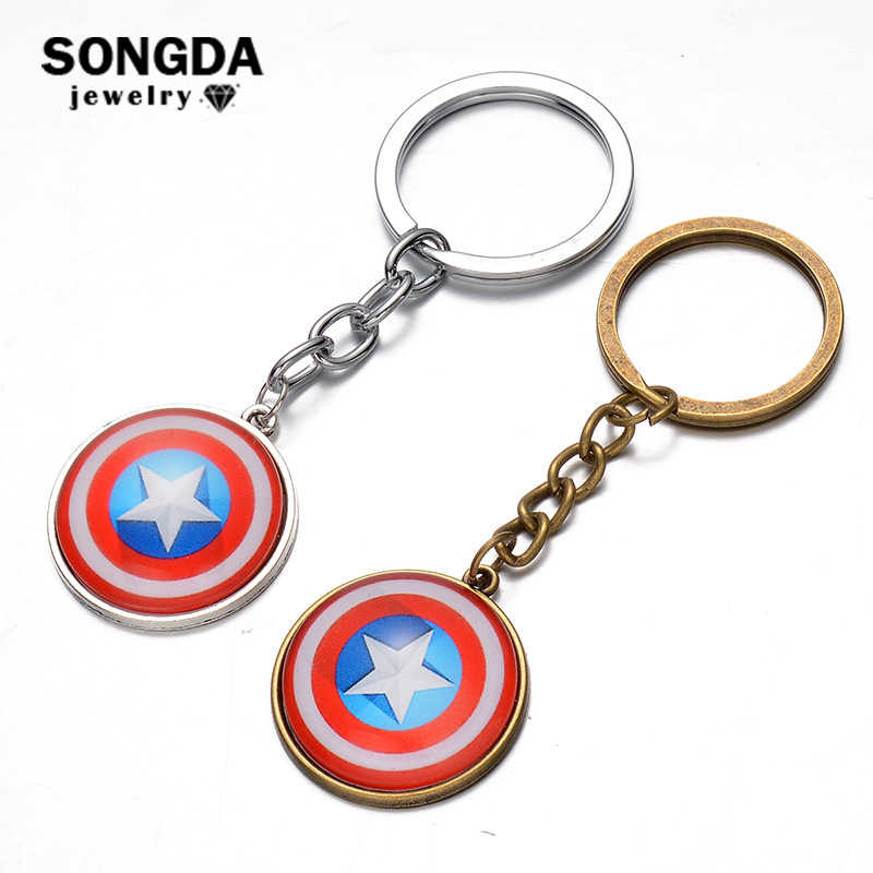 SONGDA The Avengers Captain America Shield Keychain War Super Hero Key Ring Movie Cosplay Peripheral Souvenir Porte Clef Keyring