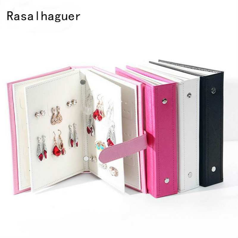 Rasalhaguer Women Stud Earrings Collection Book PU Leather
