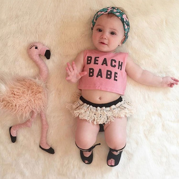 WASAILONG Foundling children's clothing 2018 summer new children's baby cotton letters printed fringed short suit image
