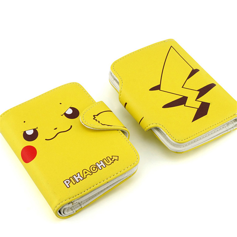 Anime Pokemon Pocket Monster Pikachu Kawaii Short Wallet Pu Leather Women Purse Anime Card Holder Mini Gift Lady Purse anime pu short yellow purse button wallet printed with pikachu of pikachu