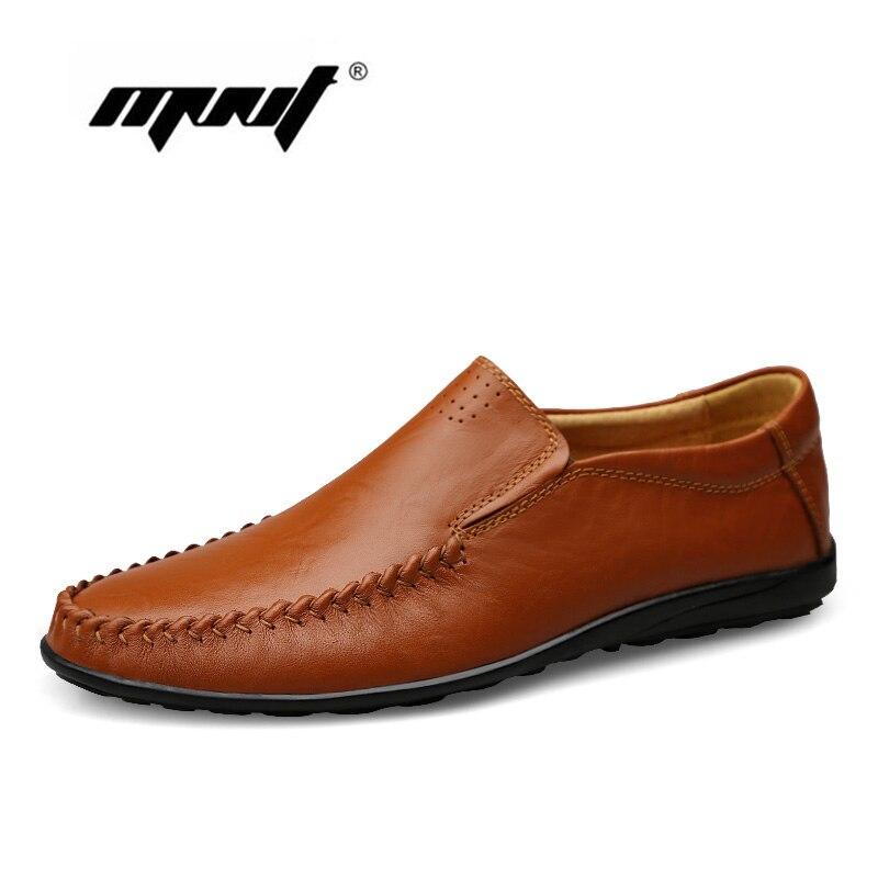 Full Grain Leather Men Flats Handmade Plus Size Soft Men Loafers Moccasins Slip On Male Shoes Men Zapatos Hombre цена
