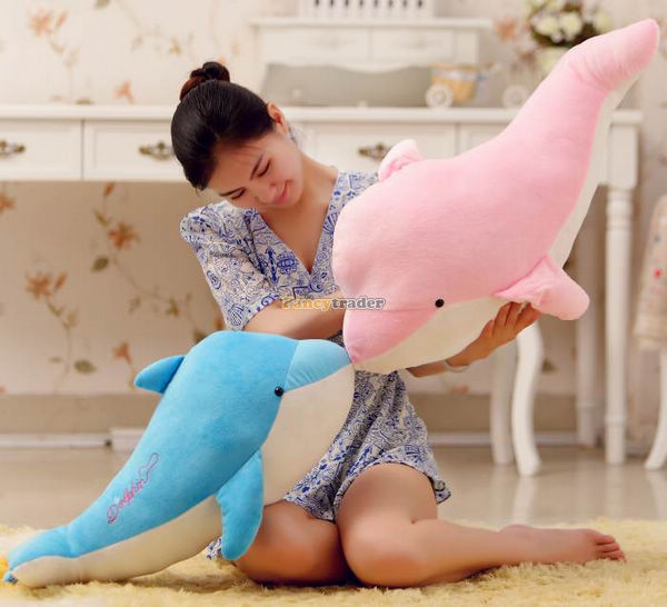 Fancytrader Cute Giant Plush Stuffed Dolphin 43'' / 120 cm Good Gift, Free Shipping, 2 Colors for choices FT90106 fancytrader 2015 new 31 80cm giant stuffed plush lavender purple hippo toy nice gift for kids free shipping ft50367