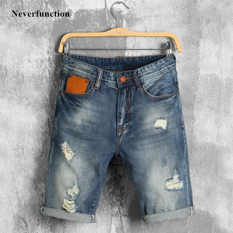 Summer Men Streetwear Ripped Destroyed Distressed Denim Shorts Bermuda Male Retro Holes Blue Casual Jeans Shorts Plus Size 40
