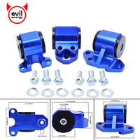 evil energy EG Blue Billet Aluminum Motor Swap Engine Mount Kit For Civic EH DC D15 D16 B16 B18