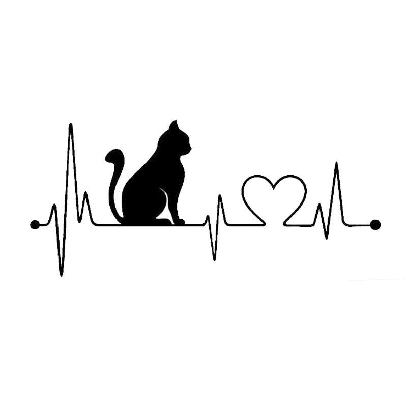 20*8.9CM Pet Cat Heartbeat Lifeline Vinyl Decal Creative Car Stickers Car Styling Truck Accessories Black/Silver S1-1446