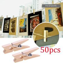 50Pcs/Pack Nordic Mini Photo Clothes Clip Holder Natural Wooden Clips For Clothespin Craft Decoration Pegs