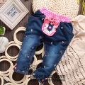 Free shipping winter Thicken children's clothing baby girl sweet style denim jeans casual bowknot embroid  trousers