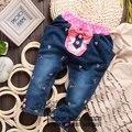O envio gratuito de inverno Engrossar crianças roupas de bebê menina doce estilo denim jeans casual calças bowknot embroid