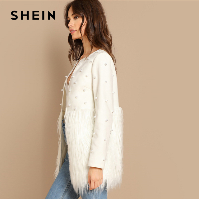 SHEIN Office Lady Solid Pearl Embellished Faux Fur Round Neck Jacket Autumn Workwear Casual Women Coat And Outerwear 6
