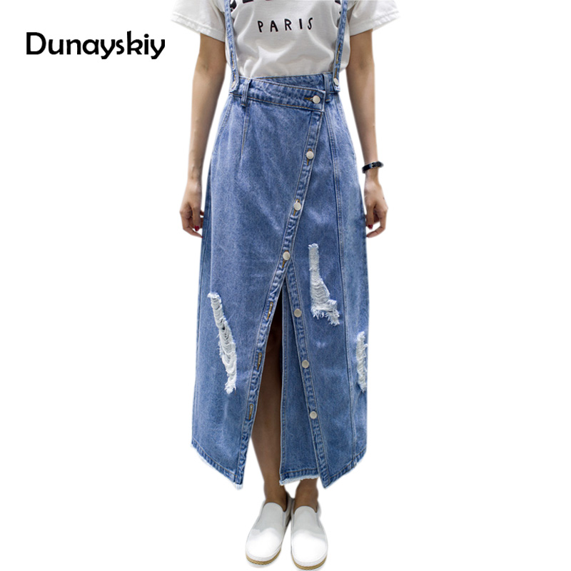 Summer Ripped Womens Skirt Jeans Jupe Hole Ladies irregular Front Slit Elegant Denim Skirts Suspender Split Saias Dunayskiy