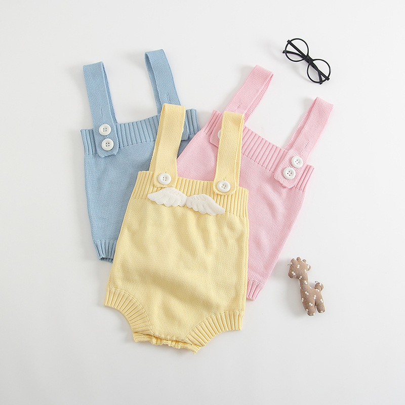 2017 Baby Rompers Children Autumn Clothing Newborn Solid Wing Sleeveless Sweater Baby Romper Infantil Jumpsuits Cotton