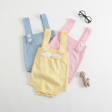 2017 Baby Rompers Children Autumn Clothing  Newborn Solid Wing Sleeveless Sweater Baby Romper Infantil Jumpsuits Cotton Romper