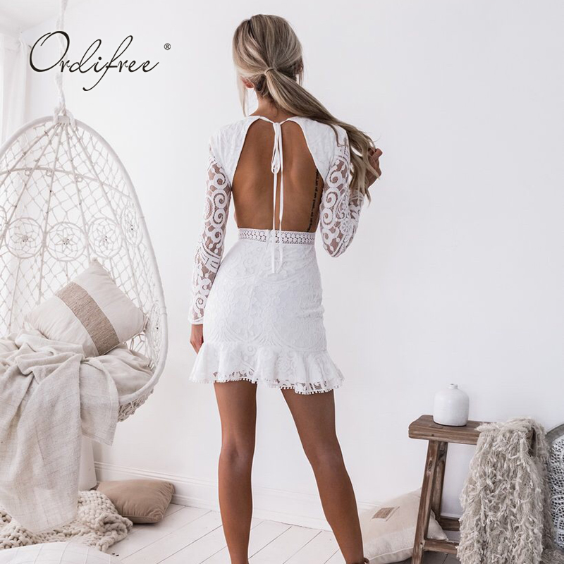 Ordifree 2019 Summer <font><b>Women</b></font> <font><b>Sexy</b></font> <font><b>Bodycon</b></font> Party <font><b>Dress</b></font> Long Sleeve Backless White Lace Mini <font><b>Dress</b></font> image