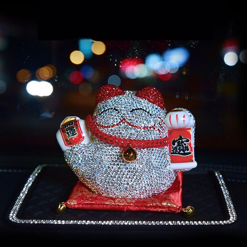 Cristal voiture ornement diamant mignon dessin animé chat strass ornement Automobiles intérieur tableau de bord balançoire femmes