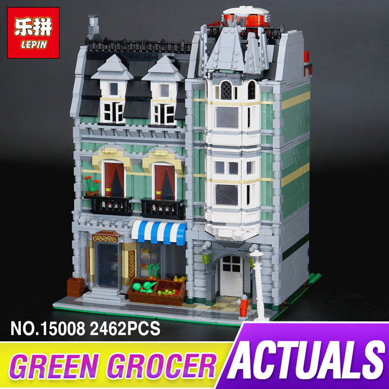 LEPIN 15008 2462Pcs Genuine New City Street Green Grocer Model Building Kit Blocks Bricks Funny Toy Gift Compatible Gift 10185 lepin 15008 new city street green grocer model building blocks bricks toy for child boy gift compatitive funny kit 10185 2462pcs