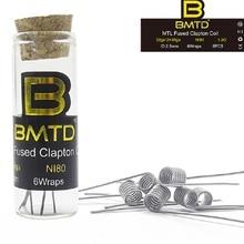 (6pcs/lot) Original BMTD prebuilt coils SS316L/A1/NI80 MTL Fused Clapton Coil Electronic Cigarette accessory