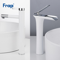 Frap White Basin Faucets Waterfall Bathroom Faucet Single handle Basin Mixer Tap Bath Faucet Brass Sink Water Crane F1052 15/53