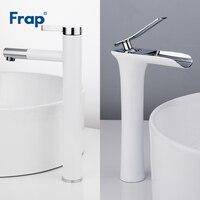 Frap White Basin Faucets Waterfall Bathroom Faucet Single handle Basin Mixer Tap Bath Faucet Brass Sink Water Crane F1052 15/53