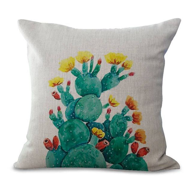 Tropical Plants and Cactus Throw Pillowcases