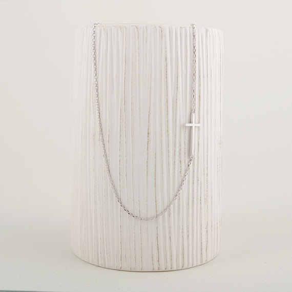 Новый стиль qiamni боковое крестное ожерелье уникальная подвеска ожерелье минималистичные модные ювелирные изделия подарок для девочек и дам