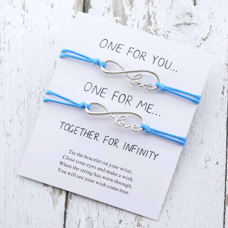 2шт Бесконечная любовь Шарм браслет желаний ЛЮБОВЬ Бесконечность струны регулируемые пара браслеты для женщин мужчин лучший друг любовь подарок