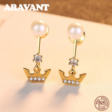 2019 New Fashion 925 Sterling Silver Jewelry Pearl Earrings Natural Crown Stud For Women Wholesale