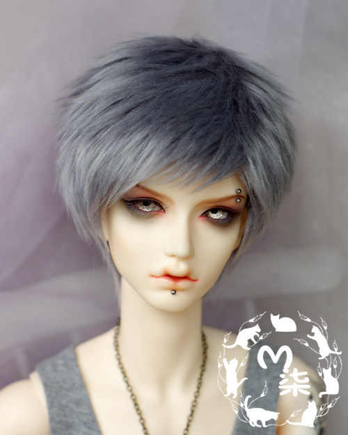 Nieuwe 1/3 22-23 cm 20-21 cm 1/4 18 ~ 19 cm 1/6 16-17 cm zoete Rook grijze Kleur Korte Bont Pruik BJD SD MSD YOSD Doll pruik