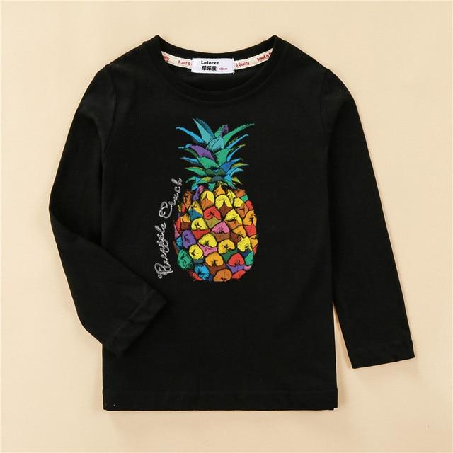 Kids US size clothes children tops 100% cotton shirt boy long sleeve t-shirt 4 planet design girl pineapple print tees 4