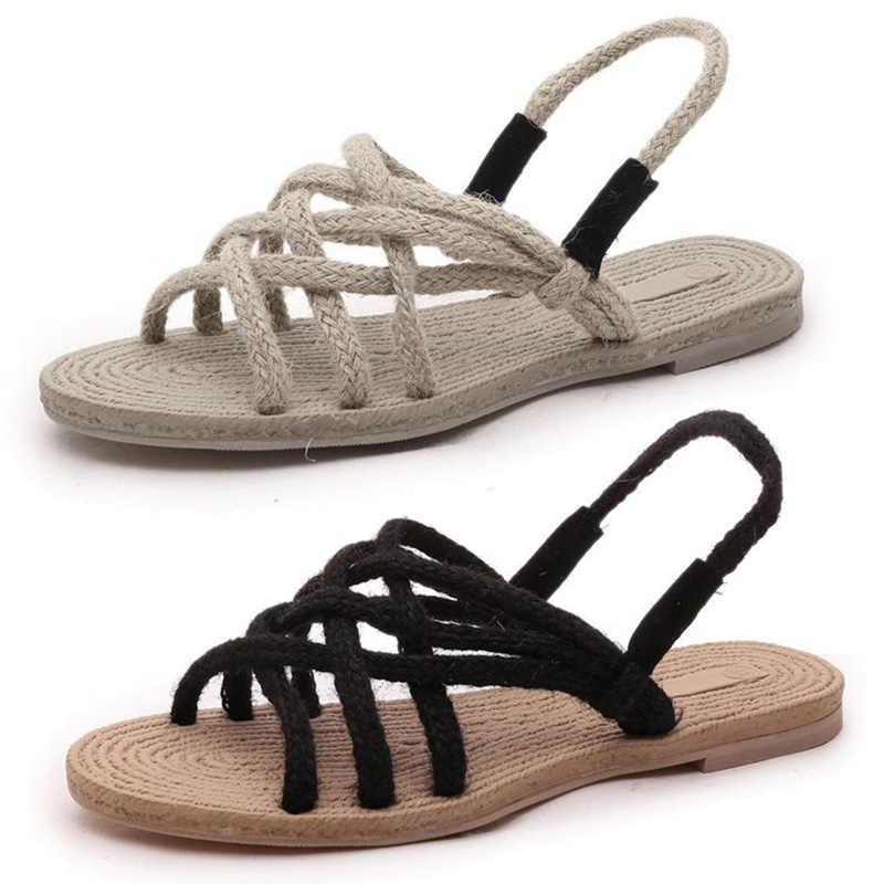 Zomer Platte Sandalen voor Vrouwen Strappy Dame Meisje Strand Casual Schoenen OH66